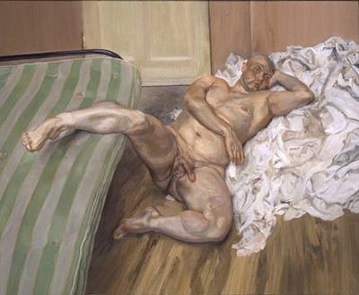 Lucian Freud, Man with leg up, 1992.