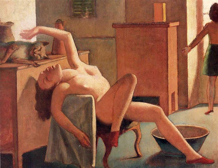 Balthus, Nude with cat, 1949.