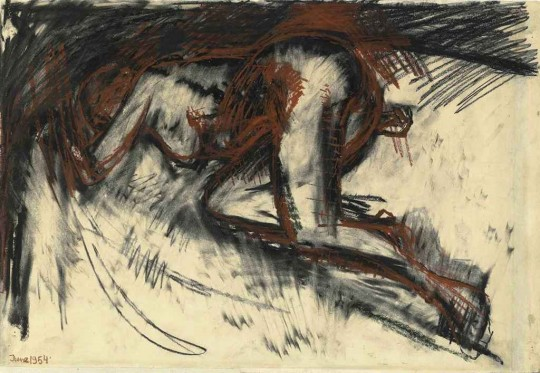 Frank Auerbach, 'Study of a Nude', 1954.