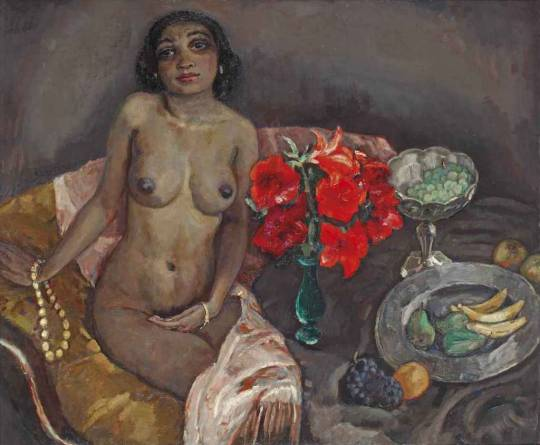 Jan Sluitjers, Seated Nude with Flowers and Fruits, 1927.