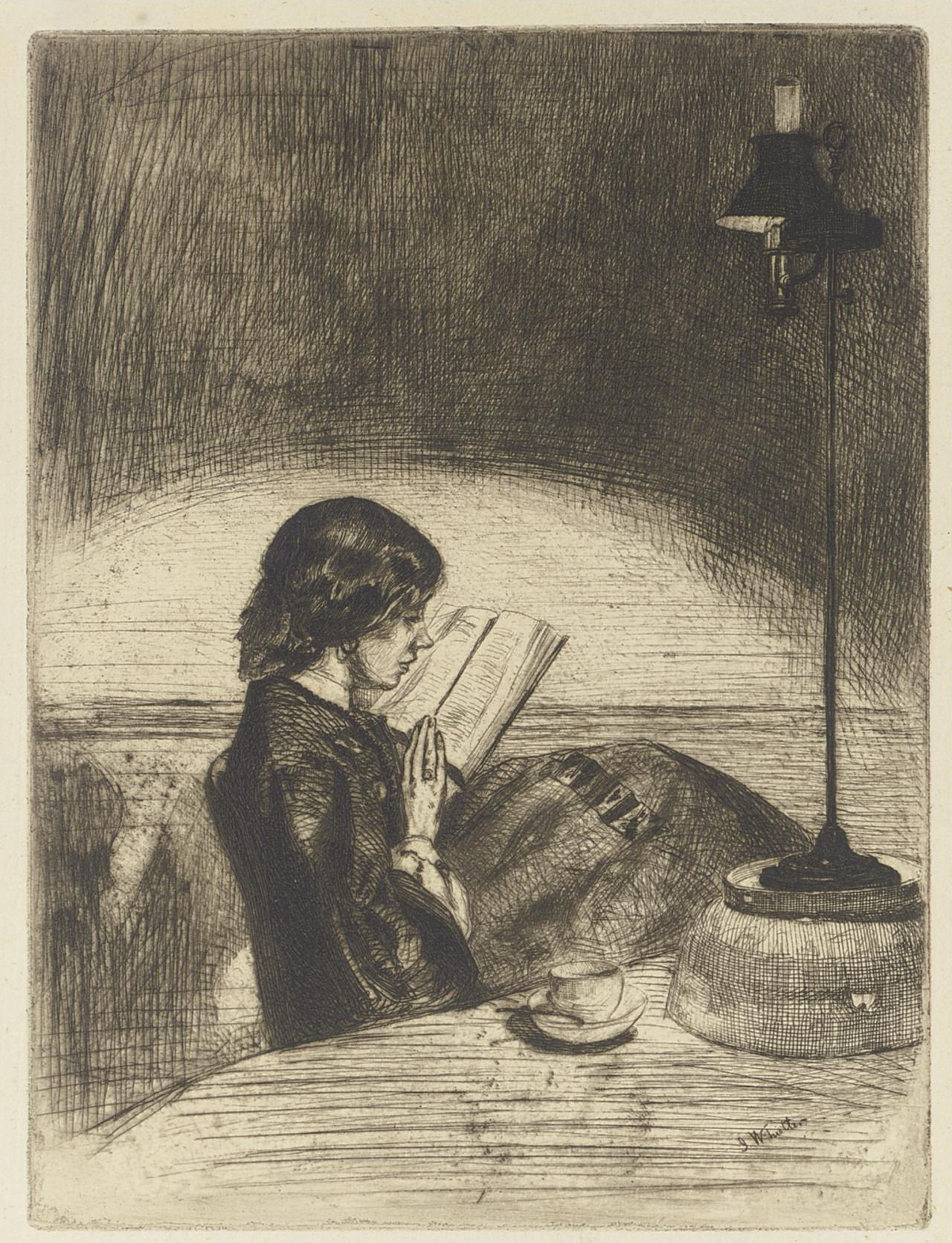 Whistler, 'Reading by Lamplight', 1858