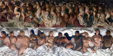 Vincent Desiderio, Sleep, 2008, with Kanye West, Famous, 2016.
