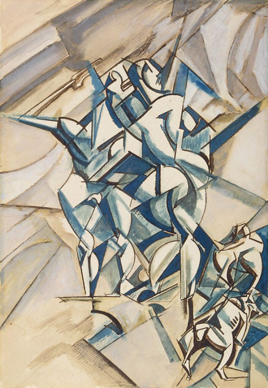 Wyndham Lewis, Figure Composition (Man and woman with two bulldogs) 1912-13