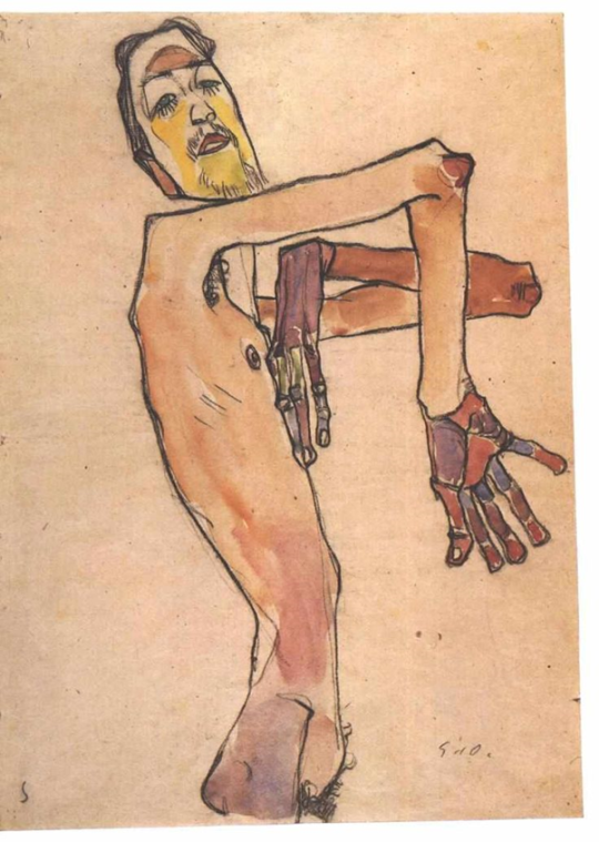 Egon Schiele, Mime van Osen with crossed arms, 1910.