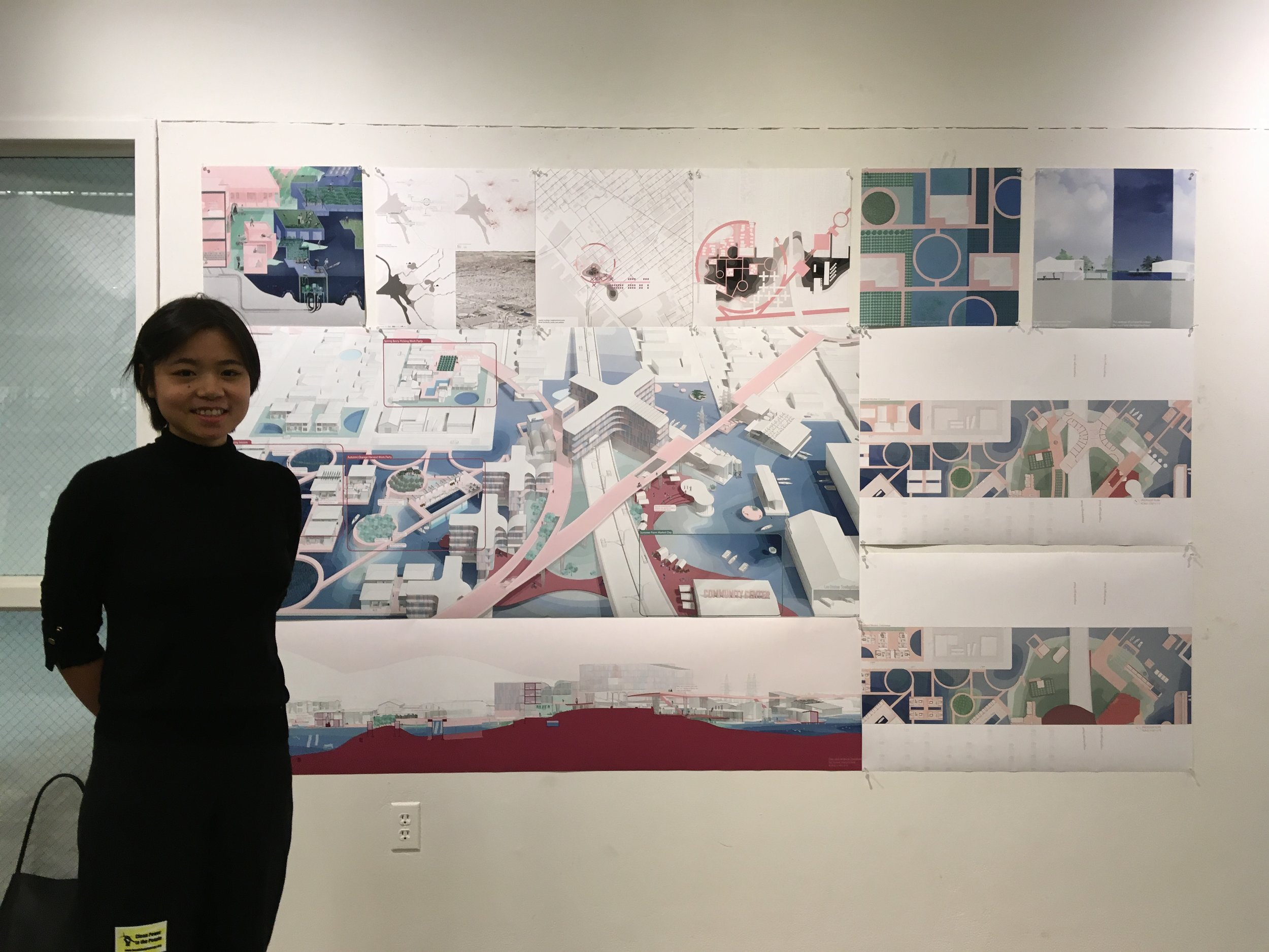 """""""Oakland Worker Commune."""" Emma Luo's project enables community members to own and profit from shared resources and skills organized around seawater farming, clean energy, clean water and building retrofits."""