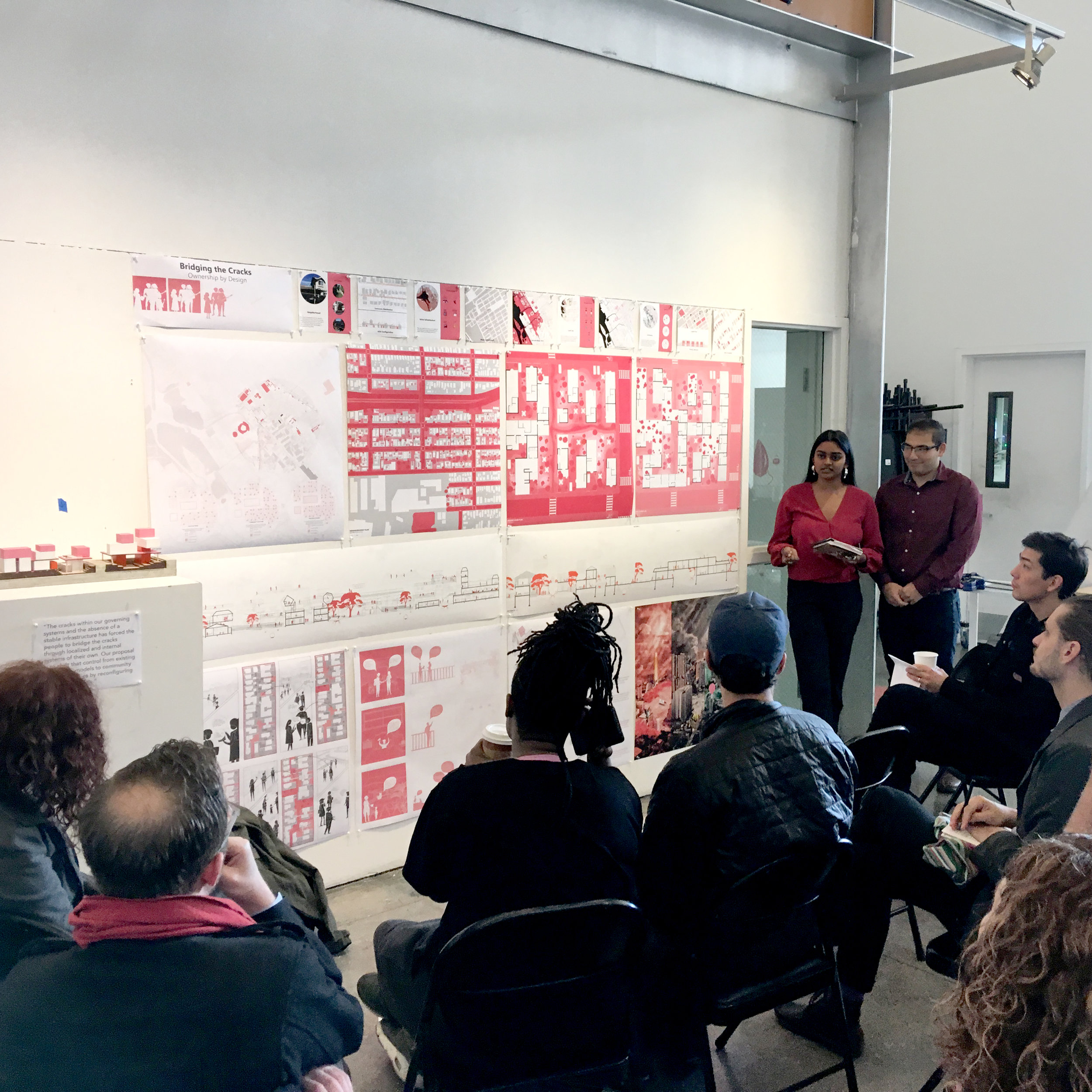 """Stop Calling Me Resilient studio: """"Bridging the Cracks."""" Taamara Rath and Jose Rodriguez Trujillo's project creates a new spectrum of ownership types (from a collective infrastructure, in red, to Accessory Dwelling Units, in pink, to private homes, in white) that empowers local residents to adapt to sea level rise."""