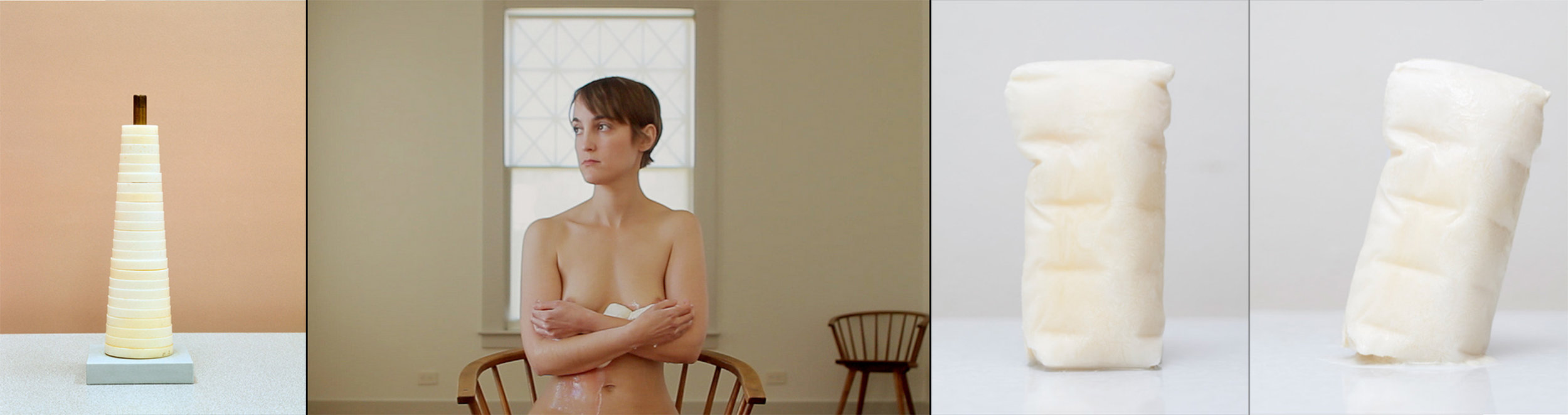"""Sarah Sudhoff, (L-R): Circular calibration device, 2012, Archival pigment print, 30 x 24""""; Surrender, 2013, video still, 45min performance.; Tipping Point 1.1, 2013, Archival pigment print, 22 x 15""""; Tipping Point 1.14, 2013."""