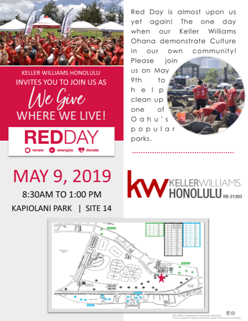 Keller Williams Red Day - We helped out with this amazing charity event on May 9th. 8:30am to 1pm. Agents came and help us clean the park, raise a little money and play some games.