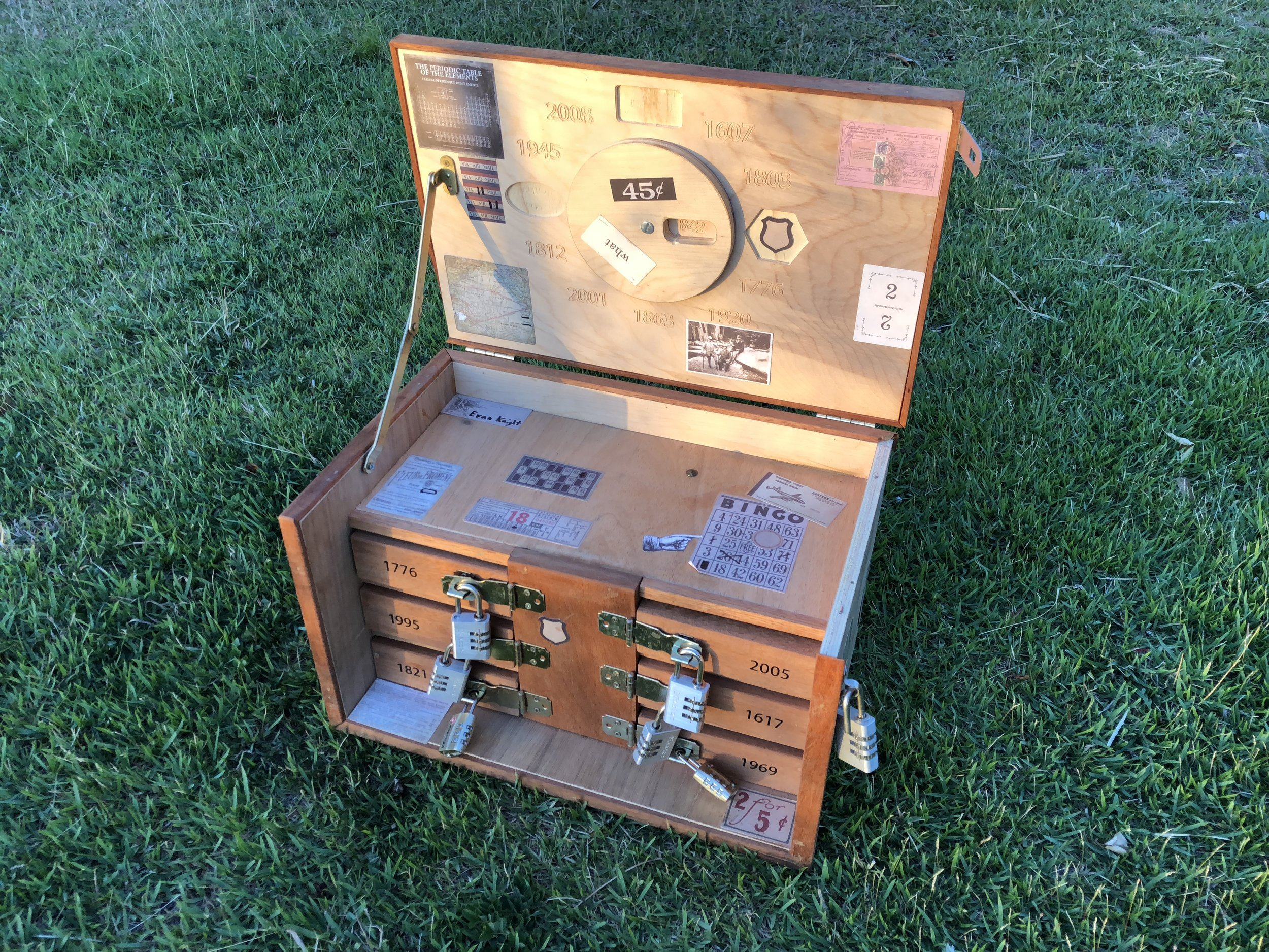 Time Travelers Escape Box - Clearly someone took a left turn back in the 1800's. Can you help them figure out just what is going on. All you have to do is open all the drawers. If only it were that easy.