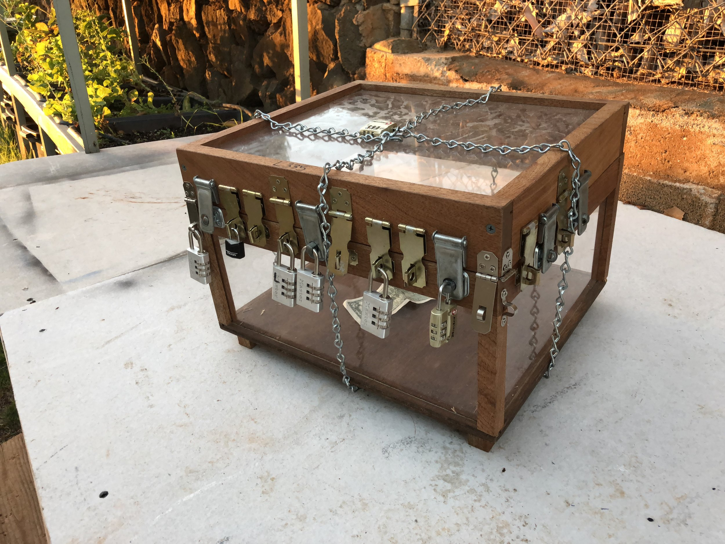 Clear Puzzle box with 26 locks