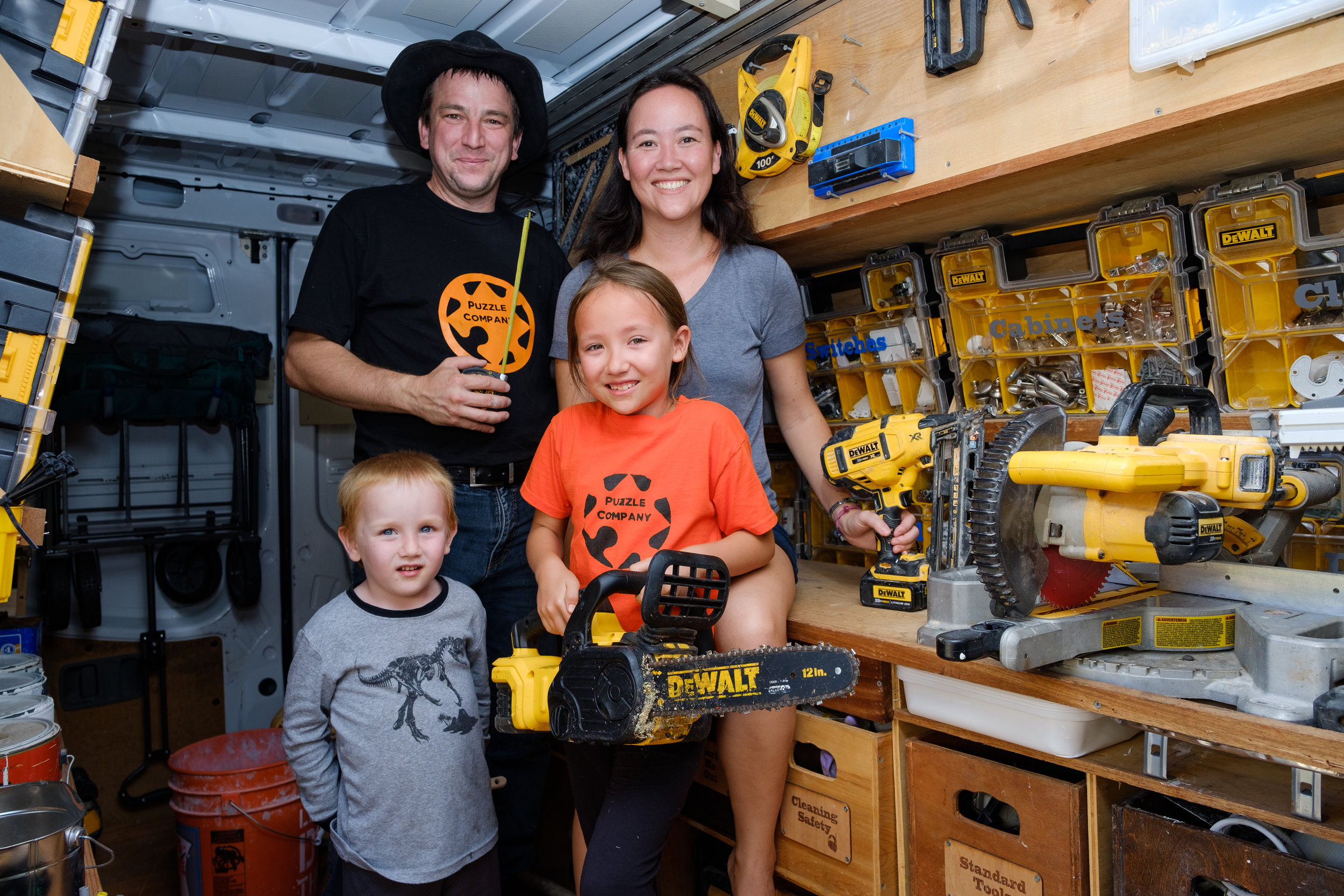 The Knight Family In a Mobil Workshop