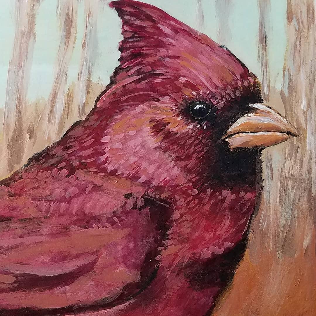 Acrylic Cardinal Bird Detail