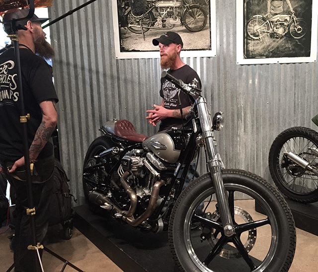 Director Gareth Roberts communing with Jeremy Cupp of LC Fabrications at the Handbuilt Show. Jeremy is a modest and reserved gentleman with a razor sharp sense of humour. He builds incredible machines, including our favourite Buell/Ducati/Triumph speedway inspired Seven we first spotted at The Brooklyn Invitational.