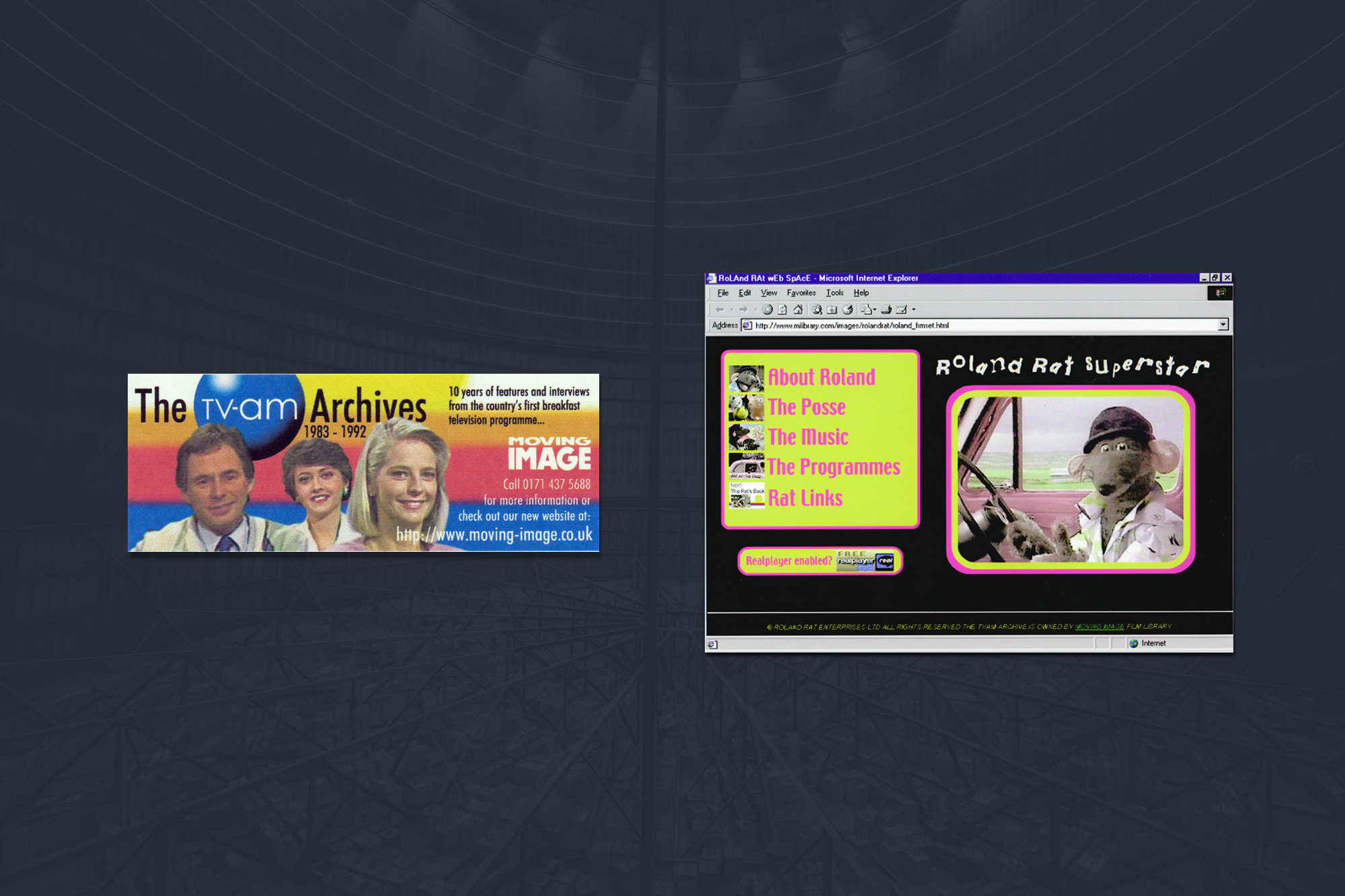 2. Flash and video streaming on a dial up modem - In amongst the Steenbeck film editing machines and broadcast tape formats sat the TV-am archive. It was time to experiment with digital video editing and Macromedia Flash – but it didn't support video in 1998. Getting RealPlayer video to work with Flash was a challenge. But challenges are good. Unfortunately Roland was disappointed – he threatened to sue unless the site was taken down. It was time to move with the times, from broadcast to digital media.