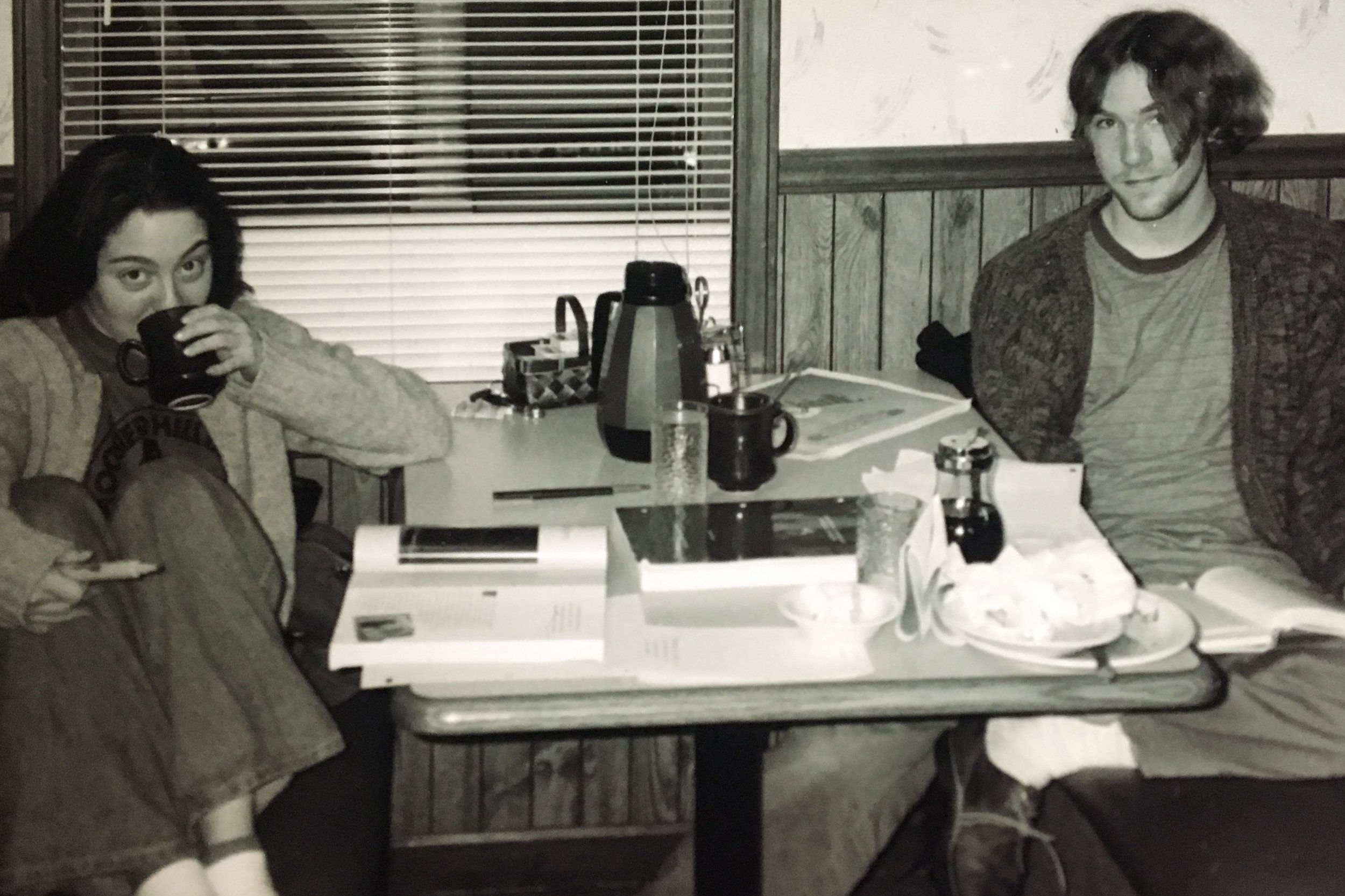 Sara and Drew, AKA the cardigan couple, AKA just kids. Sunshine Cafe, Muncie, IN, 1997.