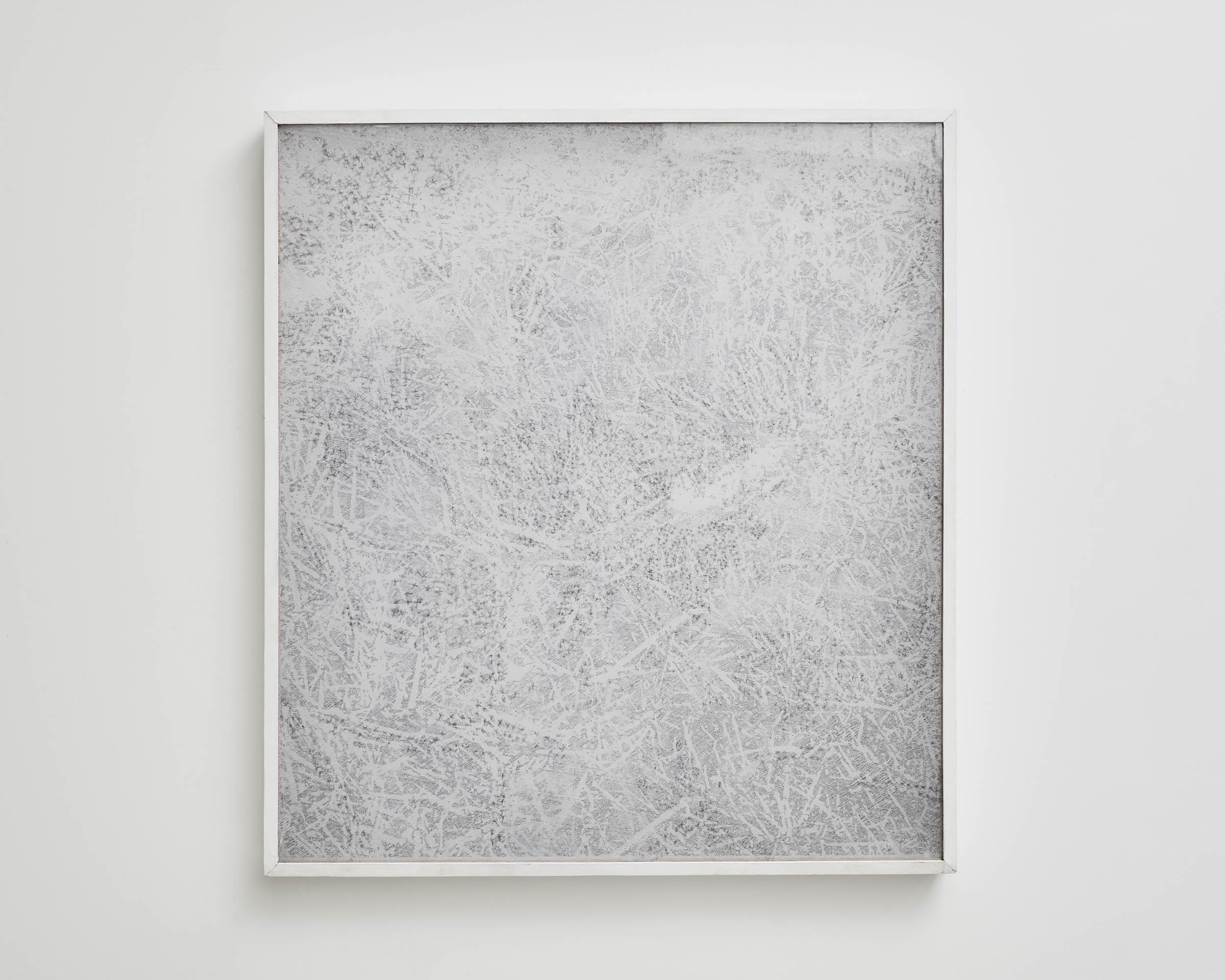Dessin-écran 2   2012, Sol, photocopie, trame, crayon graphite et boîte bois  1x1m.