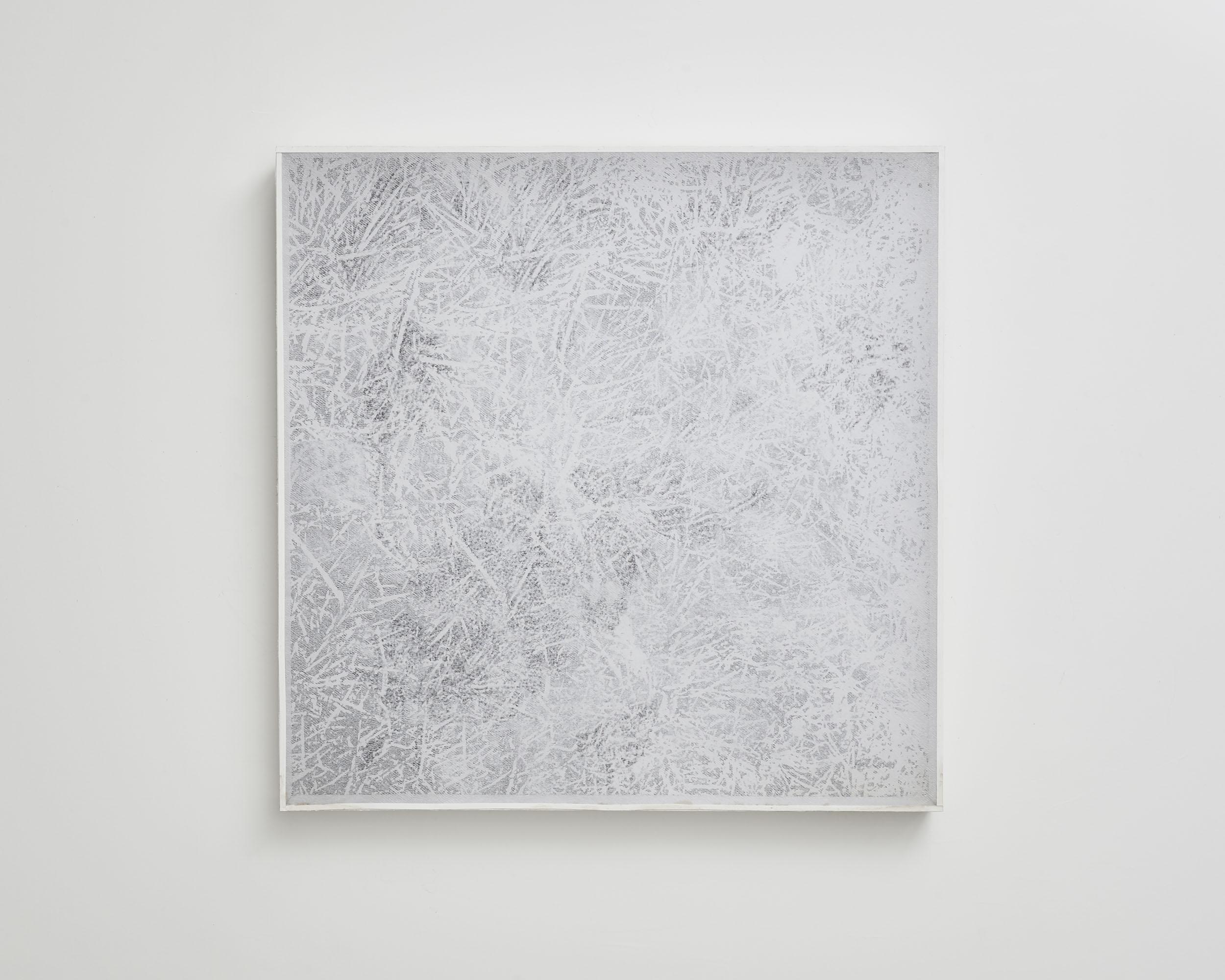 Dessin-écran 3   2011, Sol, photocopie, trame, crayon graphite et boîte bois  1x1m.