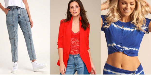 80's Inspired  Lulu's High Waisted Crop Jeans ;  Lulu's Red Blazer  &  Koy's Tie Knot Top )