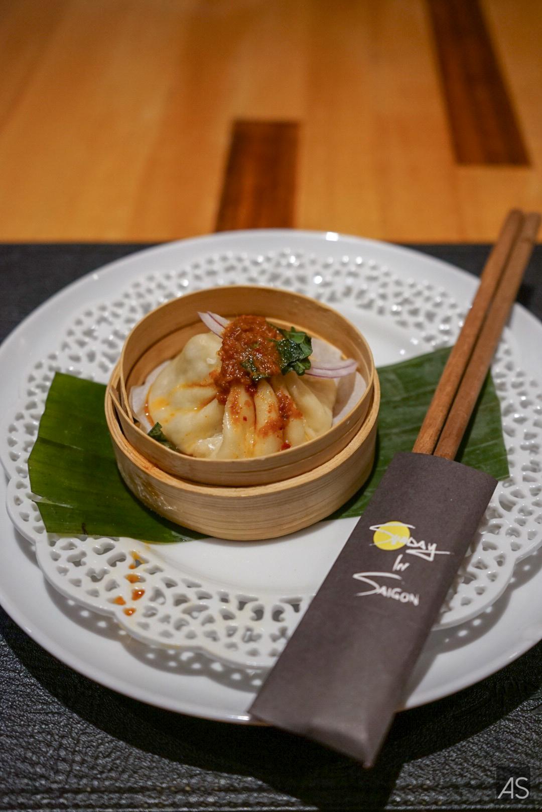 Pho Soup Dumpling | Flank steak & brisket | house sate sauce