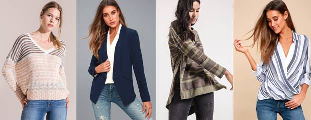 Pictured:  Rag Poet's Shenandoah Sweater ;  Lulu's Miss Punctuality Blazer ;  Z SUPPLY's Camo Weekender ; and  Lulu's Sail Striped Surplice Top