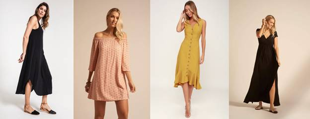Pictured:  Z SUPPLY's Reverie Midi Dress ;  Koy Resort's Capri Off the Shoulder Dress ;  Lulu's Button Front Midi Dress ; and  Koy Resort's Laguna Maxi Dress