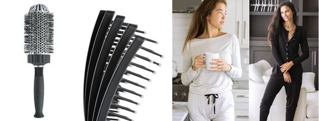 Pictured:  KareCo's Large Ionic Thermal Round Brush ;  KareCo's Mini Tangle Buster ;  Privilege's Wildest Dreams PJ Set ; and  Privilege's Lazy Day Onesie Romper