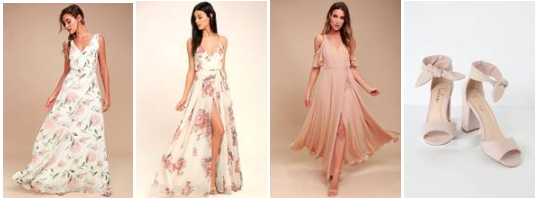 Romantic Possiblities ;  Cream Floral Print Wrap ;  Off-the-shoulder Wrap ;  Covington Blush Ankle Strap Heels