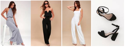 Moment for Life Halter Jumpsuit ;  Power of Love Strapless Jumpsuit ;  Enticing Endeavors White Jumpsuit ;  Perch Black Suede Leather Heels