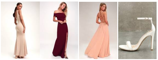 Adelina Sleeveless Mermaid ;  Aveline Off-the-Shoulder Maxi ;  Strappy to be Here Maxi ;  Loveliness White Ankle Strap