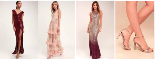 Catching Compliments Sequin Dress ;  Garden Dreams Blush Lace Maxi ;  Infinite Dreams Ombre Sequin ;  Loveliness Rose Gold Ankle Strap
