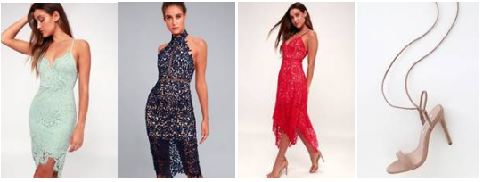Flirting with Desire Bodycon ;  Divine Destiny Lace Midi ;  One Wish Red Lace Midi ;  Nubuck Leather Lace-Up High Heel