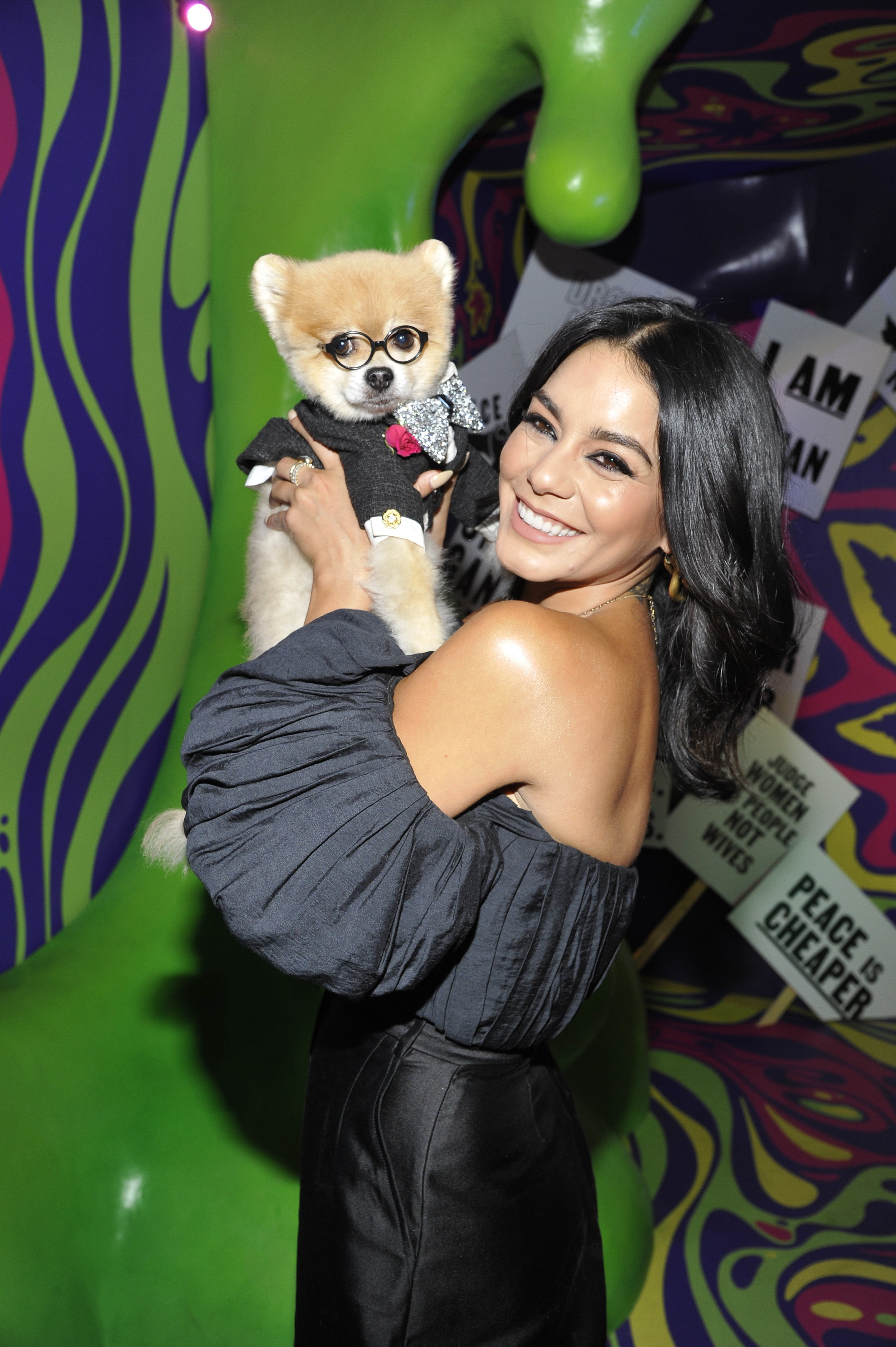 Vanessa Hudgens and Average Socialite's guest Bentley the Pom LA attends the exclusive preview of Museum of Weed in LA