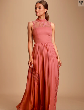 ASHLEIGH RUSTY ROSE LACE PLEATED MAXI DRESS -