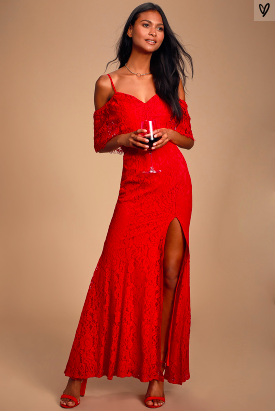 CATERINA RED LACE OFF-THE-SHOULDER MAXI DRESS -