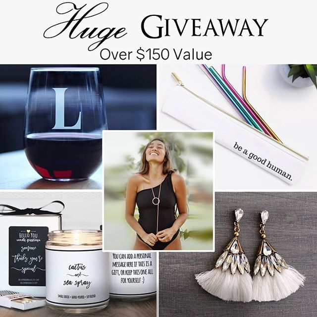 Another Summer Giveaway! • • We hope everyone has been having an amazing summer! I know none of us want it to end, and we're celebrating summer one last time with another awesome giveaway! We have teamed up with our friends at @sincerelysilverco, @bevveeco, @everything__e, @shoplaststraw, @helloyoucandles, and @seasaltshop_ to put together a great giveaway to continue celebrating summer! The winner will receive a Personalized Stemless Wine Glass from Bevvee Co., a Gold Lariat Necklace from Everything E Studios, a Rainbow Reusable Straw Kit from Last Straw, a Summer Candle from Hello You Candles, a cute pair of Tassel earrings from Sea Salt Shop, and a Custom Name Necklace from Sincerely Silver! • TO ENTER: 1. Like this photo! 2. Make sure you're following @averagesocialite  3. Go follow @sincerelysilverco and like the picture/follow the directions on their post! 4. Tag a friend who would love these summery items! 5. BONUS ENTRY: Repost this on you page for a bonus entry to win!  Giveaway ends 8/16