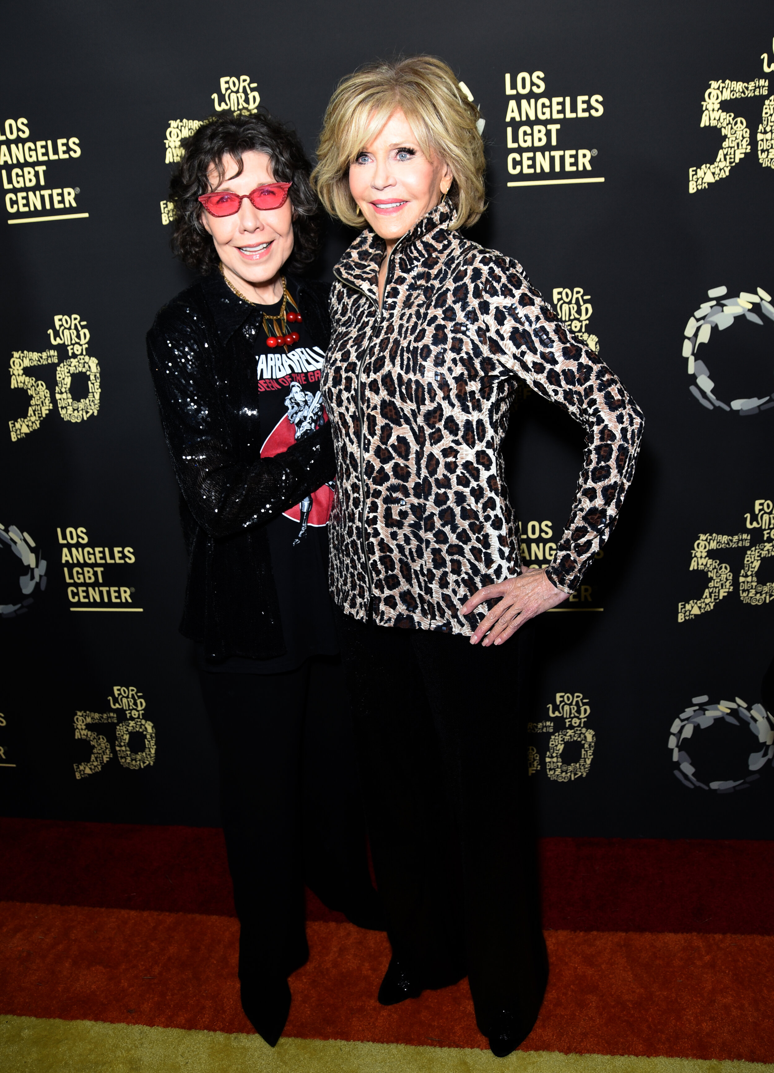 Lily Tomlin & Jane Fonda |  Getty Images for Los Angeles LGBT Center Hearts of Gold Concert