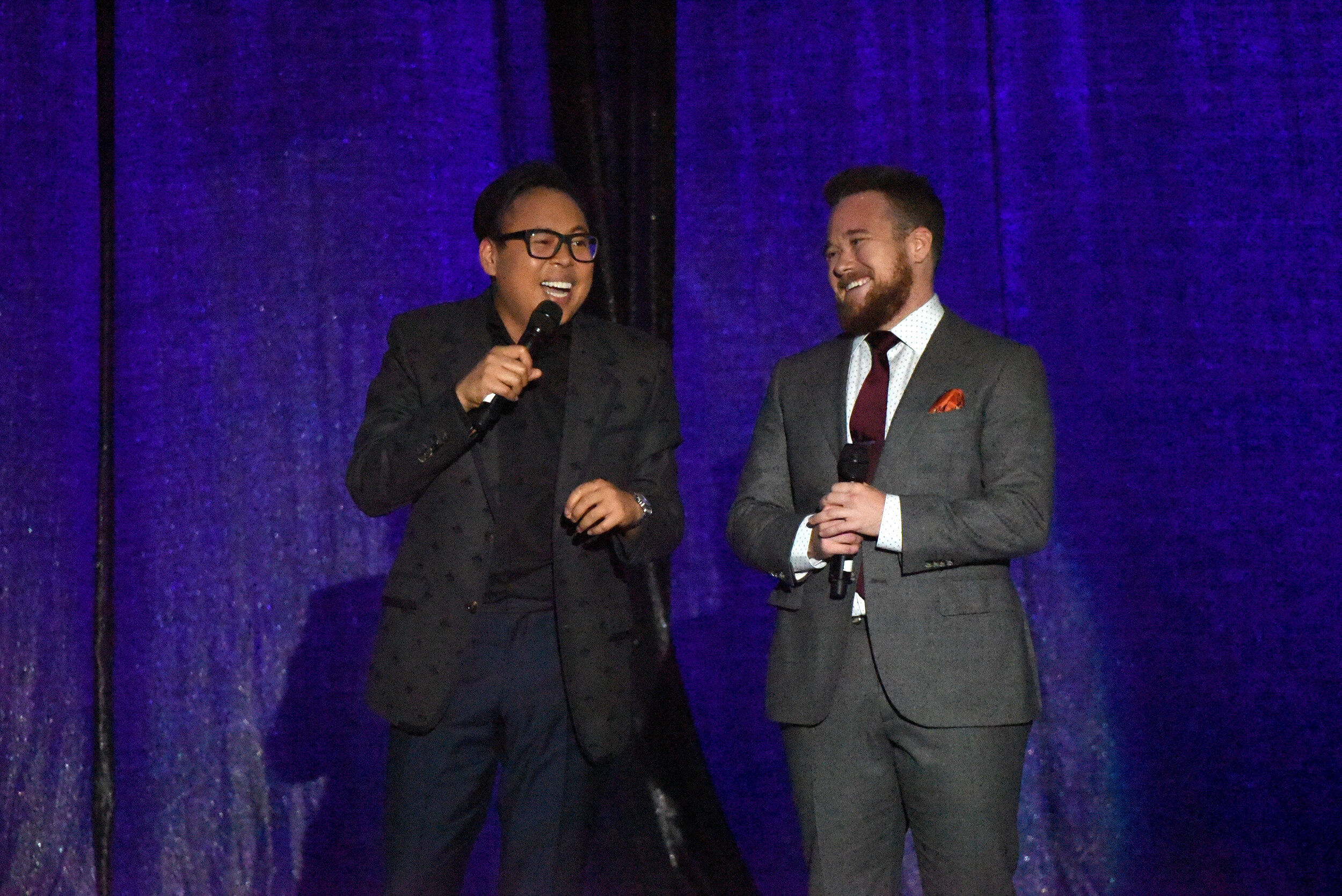 Nico Santos and Zeke Smith speak onstage during Los Angeles LGBT Center Celebrates 50th Anniversary With Hearts Of Gold Concert & Multimedia Extravaganza (Photo by Presley Ann_Getty Images).jpg