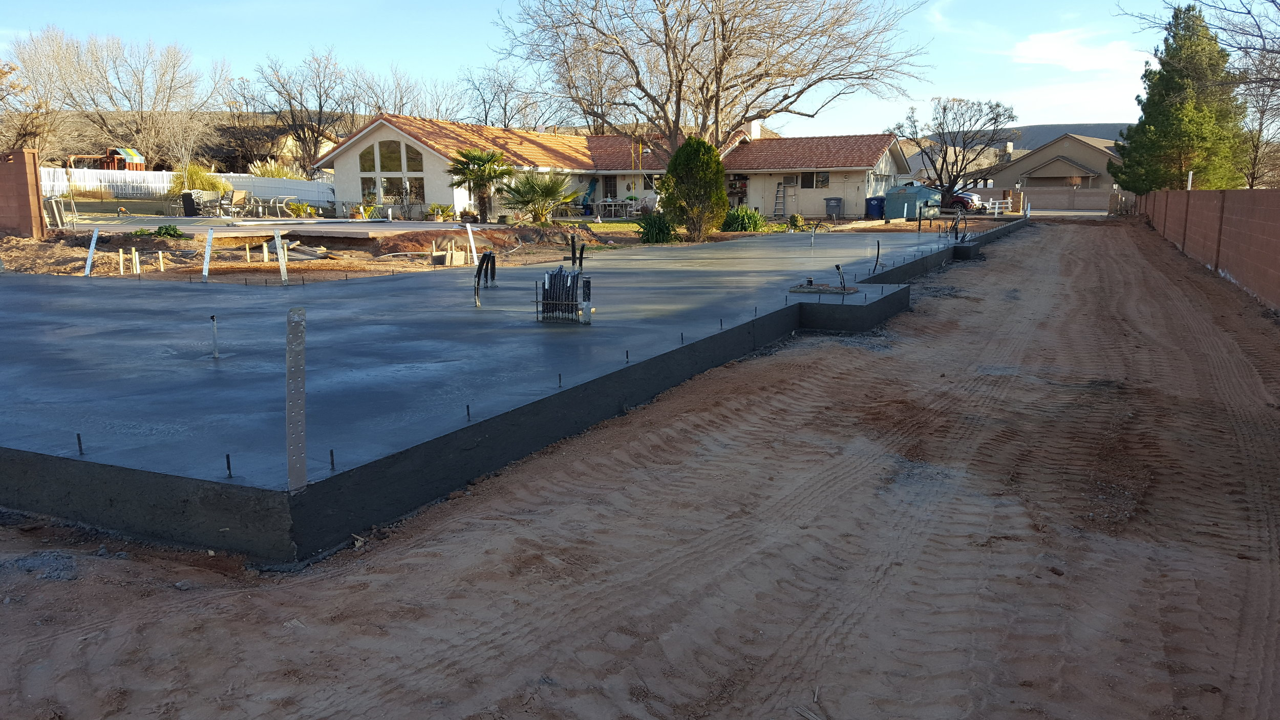 Slab for a large 2,230 sq ft addition.
