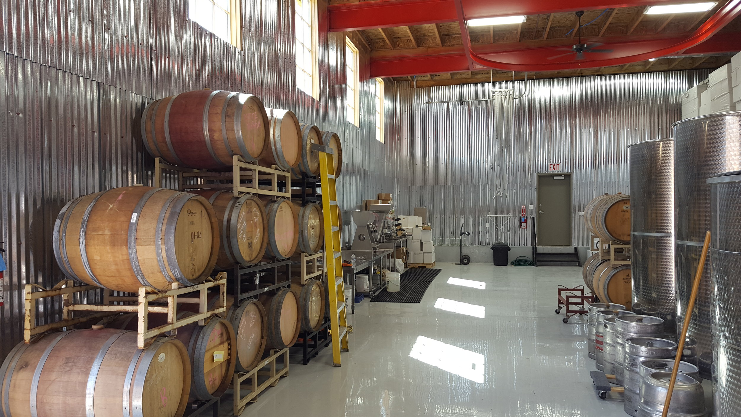 Rear production area of IG Winery Kelsch Construction