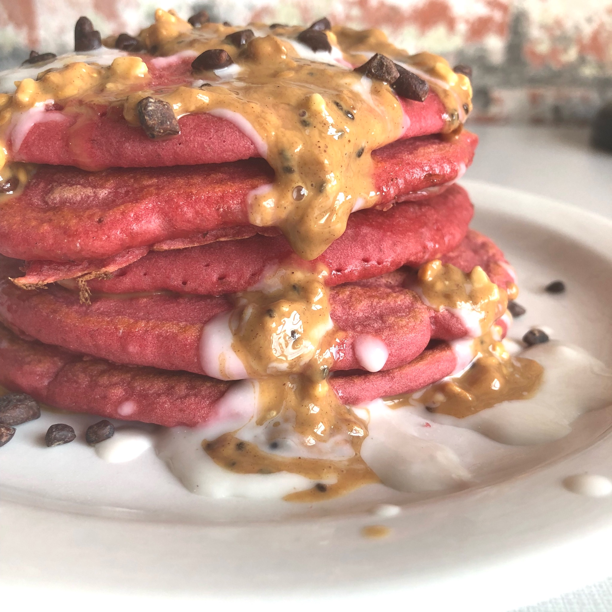 PEANUT BUTTER & BEET PANCAKES - GLUTEN-FREE, DAIRY-FREE, SUPERFOODS