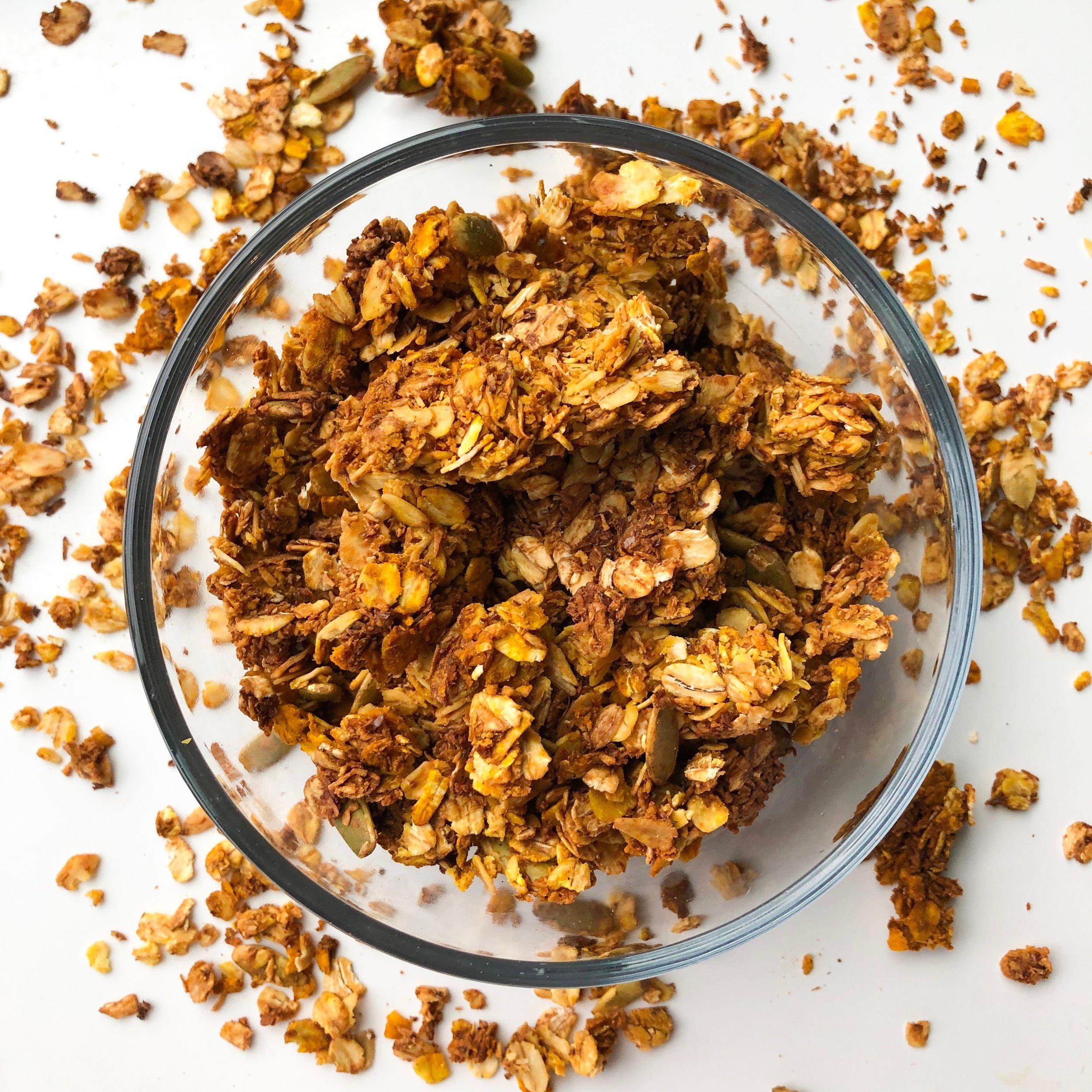 Golden-Coco Granola - DAIRY-FREE, NO ADDED SUGAR, GLUTEN-FREE (OPTIONAL), VEGAN (OPTIONAL), SUPERFOODS