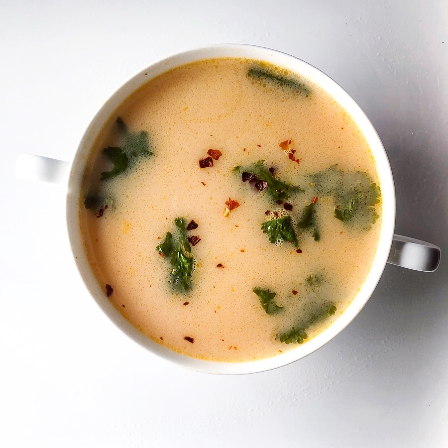 Thai Coconut - 1 c of chicken bone broth1/2 c of water1/2 c of coconut milk 1 tsp of red curry paste 1 tsp of gochujang sauce10 cilantro leaves 1 tsp of garlic powderRed pepper flakes to season