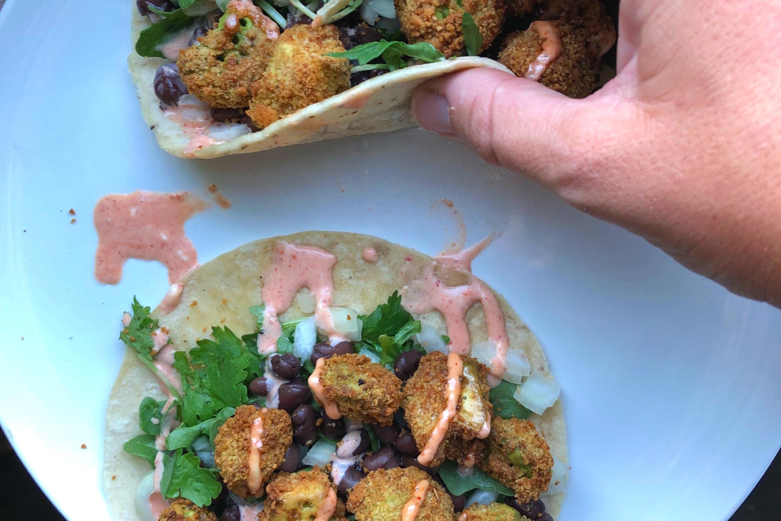 """Fried"" Avocado Tacos (Dairy-Free, Gluten-Free, Vegan) - FURTHER FOOD"