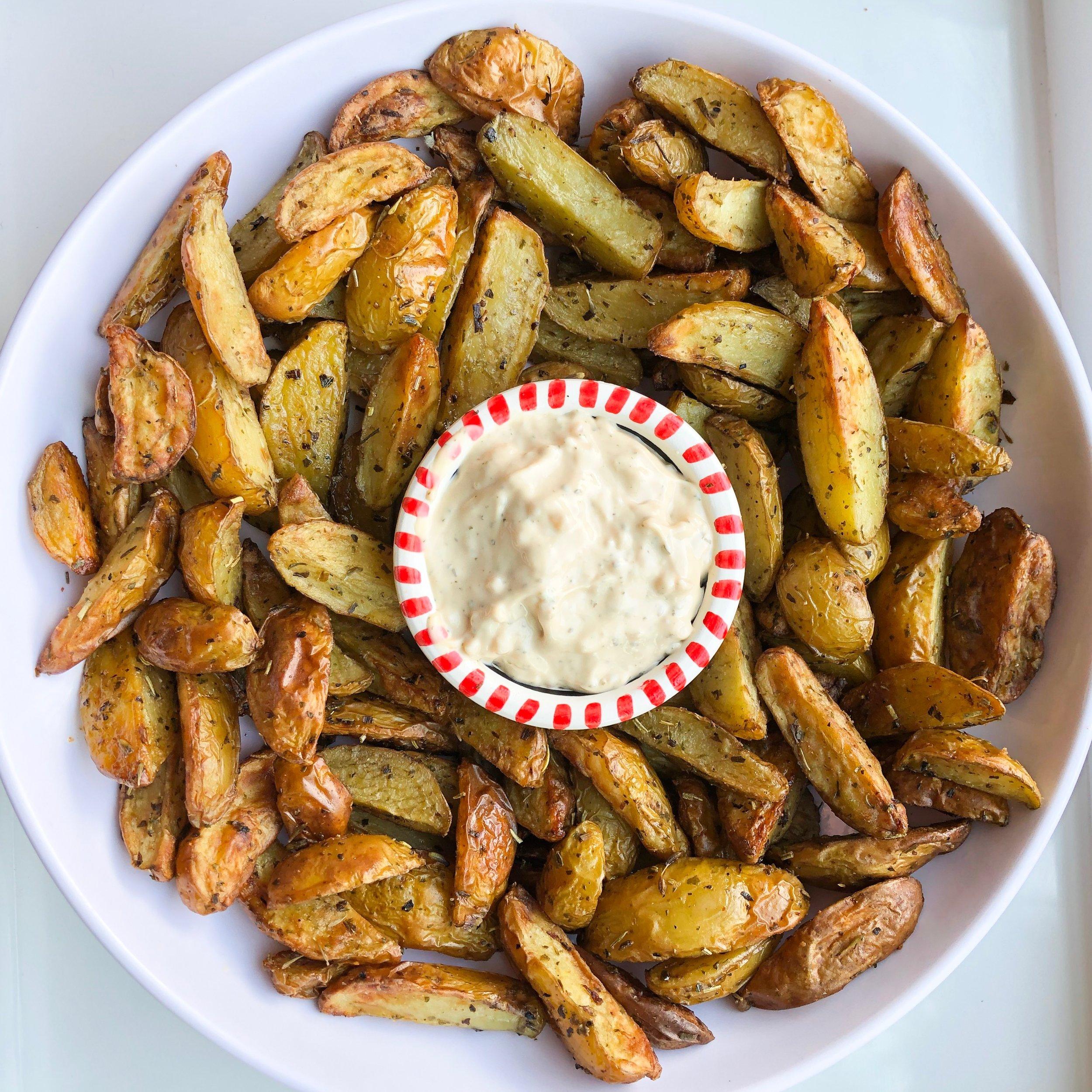 Rosemary Garlic Potato Wedges - Vegan, Dairy-Free, Gluten-Free (optional)