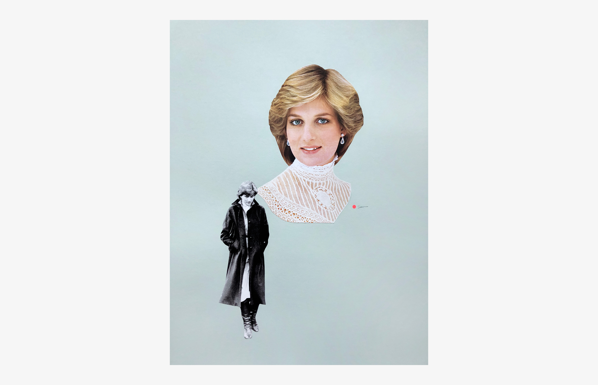 """Danielle Krysa   """"Who would buy a portrait of diana looking like such a badass, they wondered"""" , 2018 Found images, acrylic, and Swarovski crystal on paper Width 22""""x Height 30"""""""