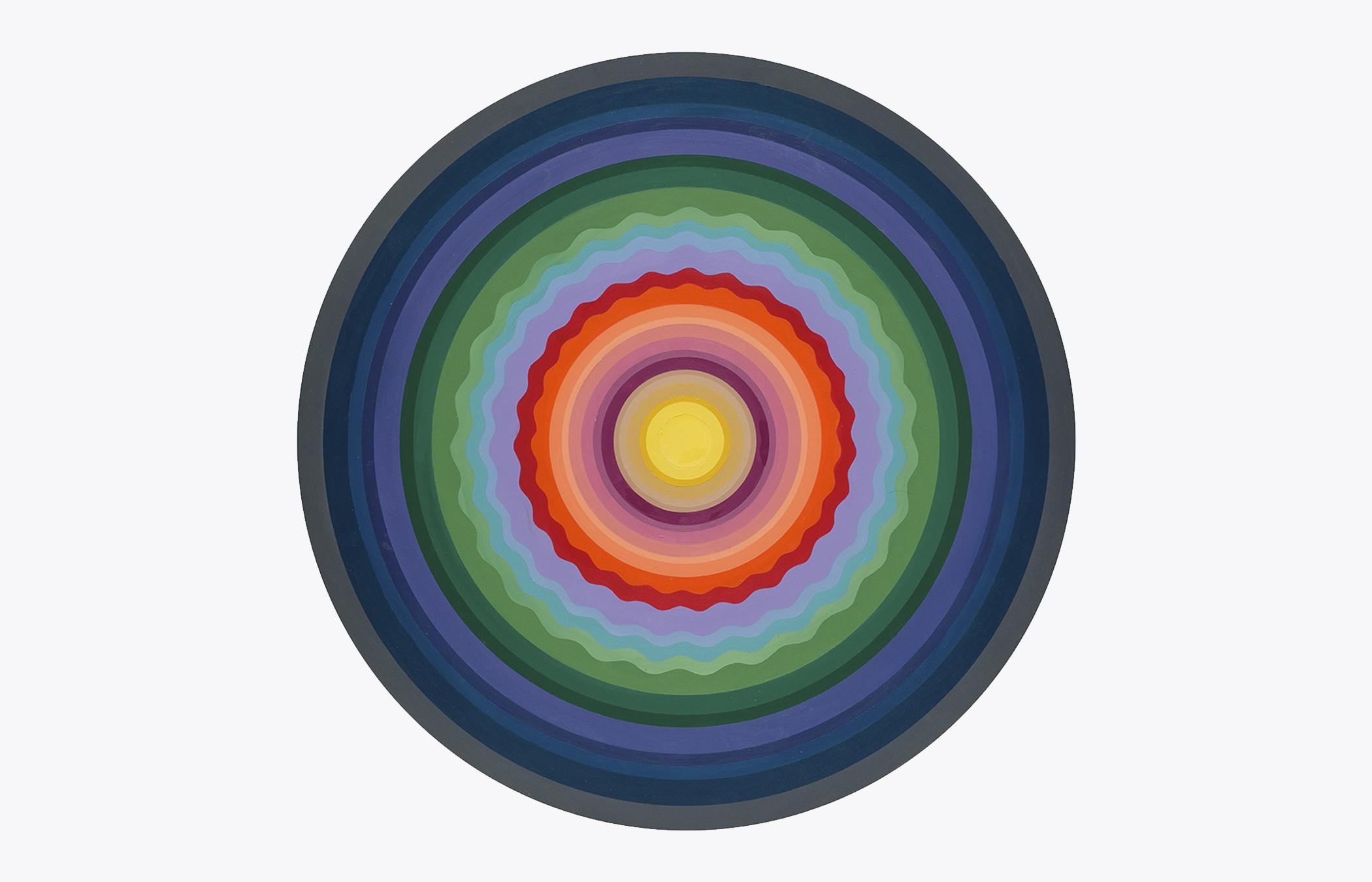 "Sarah Gee Miller   Sine Wave 1 , 2018 Acrylic on shaped panel 30"" Diameter"