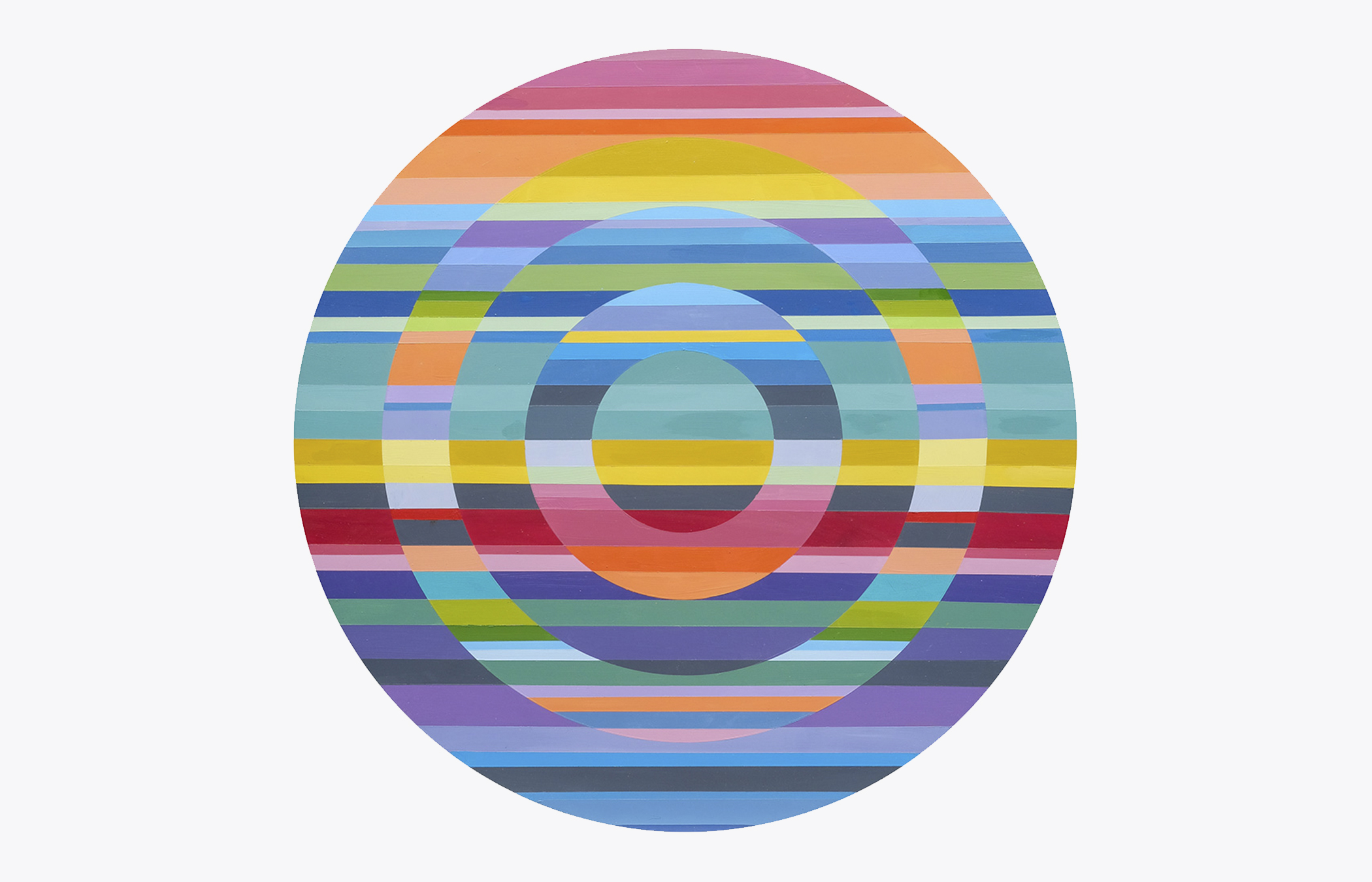 """Sarah Gee Miller   In, and Within , 2018 Acrylic on shaped panel 30"""" Diameter"""