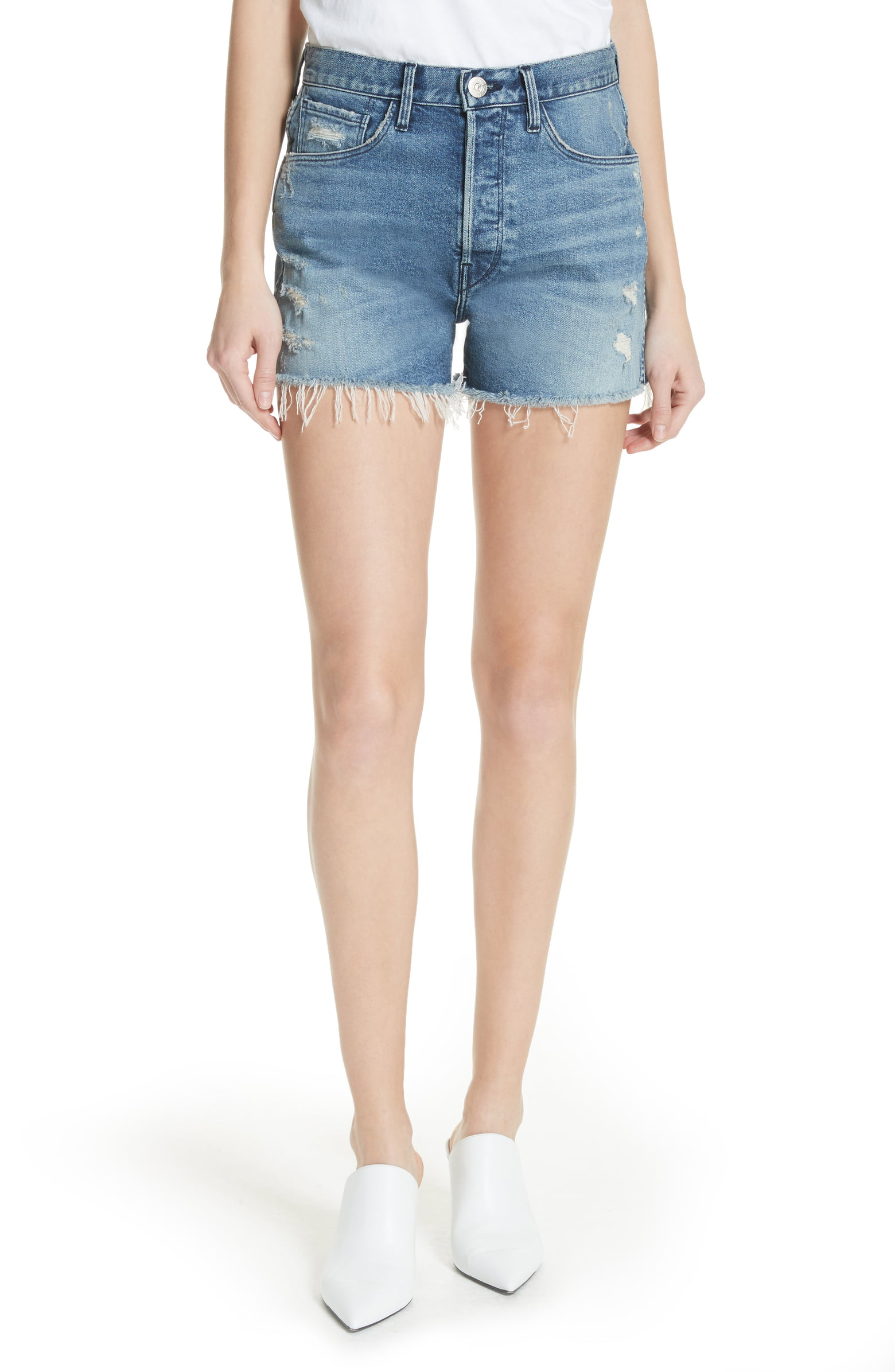 3X1 Blake Shorts - Wispy threads flutter from the roughed-up hems of this vintage-inspired cutoffs woven with a touch of stretch for modern comfort. Click image to shop this style!