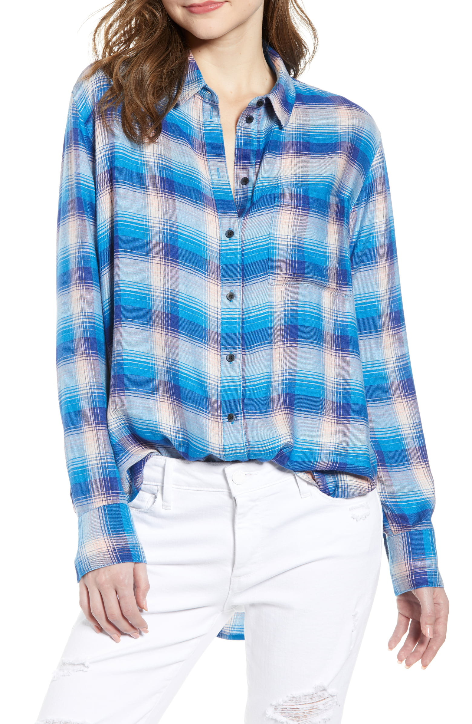 TREASURE & BOND - Even the noncommittal will stay true to this weekend-essential oversized plaid shirt woven to be soft, drapey and incredibly easygoing.