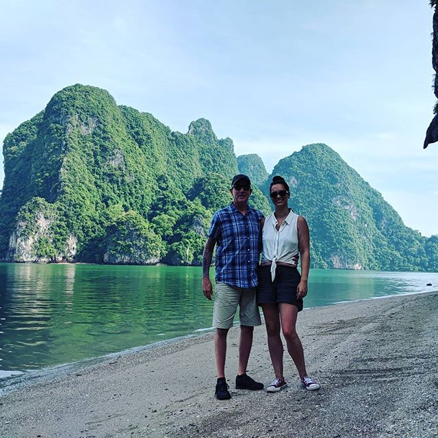 The obligatory cheesey tourist pics on Khao Phing Kan with my beautiful better half.